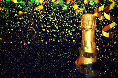 Bottle of champagne.Christmas background Royalty Free Stock Image