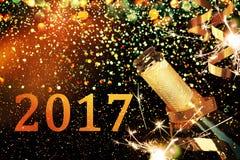 Bottle of champagne.Christmas background. Bottle of champagne.Celebration New Year Royalty Free Stock Image