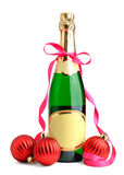 Bottle of champagne and Christmas balls Royalty Free Stock Photo