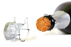 Bottle of champagne with cork stock photo