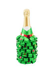 Bottle of champagne, decorated for the new year holiday Royalty Free Stock Image