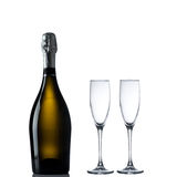 Bottle of champagne with empty glases Royalty Free Stock Photos