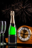 Bottle of champagne. With fireworks stock photos