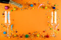 Birthday party kit with copy space. royalty free stock images