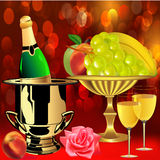 Bottle champagne fruit  rose and goblets Stock Images
