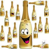 Bottle of Champagne funny cartoon Stock Photos