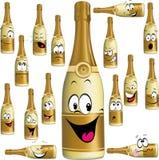 Bottle of Champagne funny cartoon stock illustration