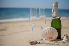 Bottle of champagne with giasses and shells on sandy beach, back. Bottle of champagne with giasses and shells on the sandy beach, background sea veiw Royalty Free Stock Images