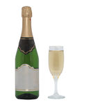 Bottle of champagne and glass. Isolated object Royalty Free Stock Image