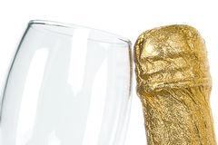 Bottle of champagne and glass. Royalty Free Stock Photography