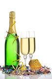 Bottle of a champagne and glasses Royalty Free Stock Photo