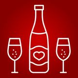 Bottle of champagne with glasses line icon. Valentines day and romantic, alcohol sign vector graphics, a linear pattern on a red background, eps 10 Royalty Free Stock Photo