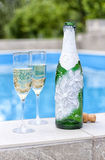 A bottle of champagne and glasses Stock Image