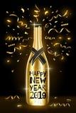 bottle champagne Hälsningkort 2019 för lyckligt nytt år vinter för snow för pojkeferielay Vektorillustration EPS10 stock illustrationer