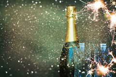 Bottle of champagne.Happy new year Stock Photography