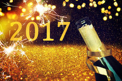 Bottle of champagne.Happy new year Royalty Free Stock Image