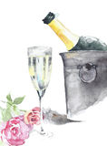 Bottle of champagne in the ice bucket with crystal glass and roses handmade watercolor painting  on white Stock Images