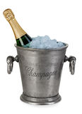 Bottle of champagne  in ice bucket Royalty Free Stock Photography