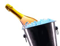 Bottle of champagne in ice bucket Stock Photo