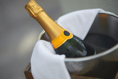 Bottle of champagne in ice bucket in restaurant. Stock Photography