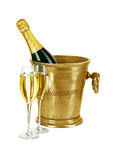 Bottle of champagne  in ice bucket Royalty Free Stock Image