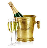Bottle of champagne  in ice bucket with stemware Stock Photography