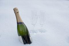 Bottle of champagne in the snow Royalty Free Stock Images