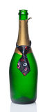 Bottle of champagne in tie royalty free stock photo