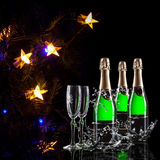Bottle of champagne. A bottle of champagne to celebrate the new year stock photo