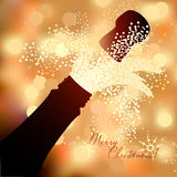 Bottle of champagne to spray on a abstract background Stock Photography