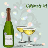 Bottle of champagne and two glasses Stock Images