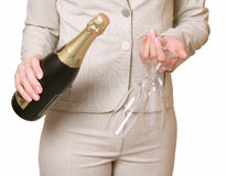 Bottle of a champagne and two glasses Royalty Free Stock Image