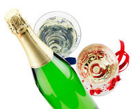 Bottle of champagne with two glasses isolated on the white backg Stock Photo