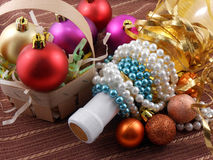 Bottle champagne wine with christmas balls Royalty Free Stock Photography