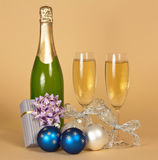 Bottle of champagne, and wine Stock Photo