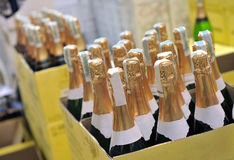 Bottle of champagne wines Stock Photo