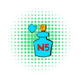 Bottle of Chanel No5 perfume icon, comics style Stock Images
