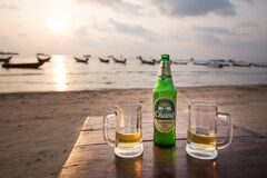 Traditional Thai Chang beer on the beach