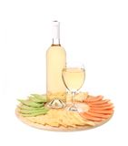 Bottle of chardonnay and cheese platter. Stock Image