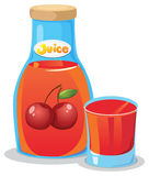A bottle of cherry juice. Illustration of a bottle of cherry juice on a white background Royalty Free Illustration