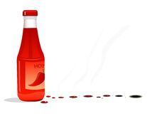 Bottle with chili. On a white background Royalty Free Stock Photo