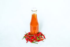 A bottle of chillie sauce Royalty Free Stock Photos