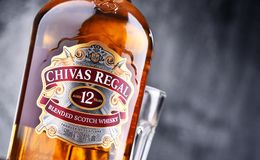 Bottle of Chivas Regal 12 blended Scotch whisky Royalty Free Stock Photos