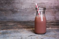 Bottle of chocolate milk Royalty Free Stock Photography