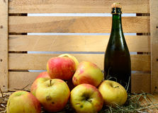 Bottle of cider with  apples and straw Stock Image