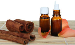 Bottle of cinnamon essential oil Royalty Free Stock Image