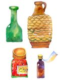 Bottle, clay jug, jar of jam, vial vector illustration
