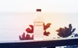A bottle of clean drinking water on a natural background with a red light, the concept of purity and health royalty free stock image