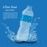 Bottle with clean pure water with water splash. Advertisement template vector Stock Image