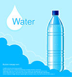 Bottle of clean water background. Vector illustrati royalty free illustration